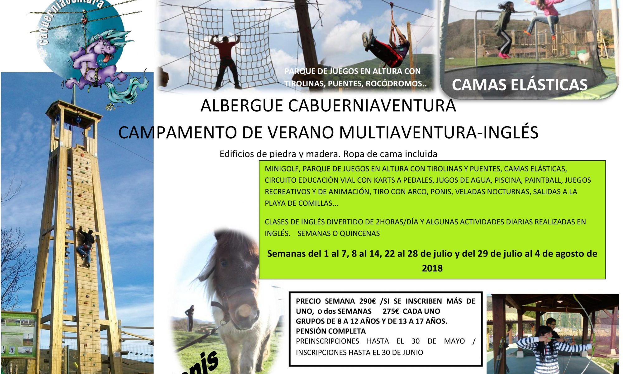 Campamento Multiaventura Inglés 2018 Cabuerniaventura